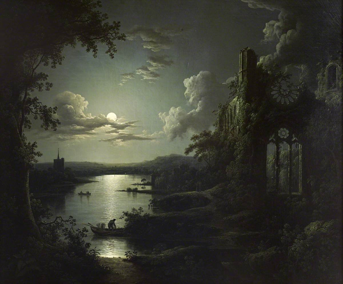 Pether, Sebastian, 1790-1844; Moonlit Lake with a Ruined Gothic Church, a Church and Boatmen