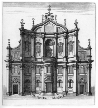 Borromini Facade of Oratorio dei Filippini (as drawn by Barriere, 1720 engraving)