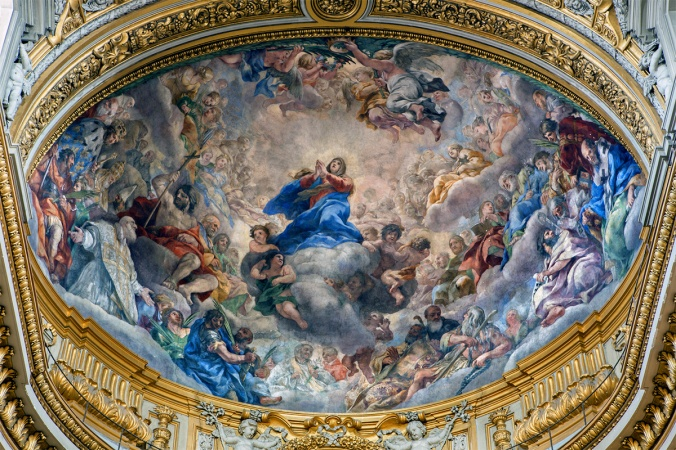 Rome - fresco of Assumption of Virgin Mary in Chiesa Nuova
