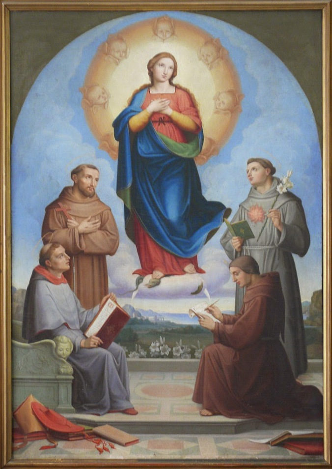 Albert Küchler (Brother Peter of Copenhagen) - Immaculate Conception with St. Bonaventure, Francis, Anthony and Blessed John Duns Scotus - Rome - Pontifical University Antonianum
